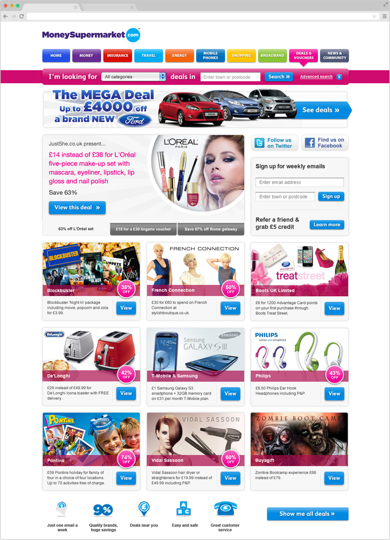 MoneySupermarket Deals Homepage Design, 2013